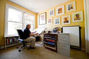 Author D. B. Johnson in his studio.