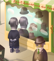 Magritte sees a marvelous hat in the shop window
